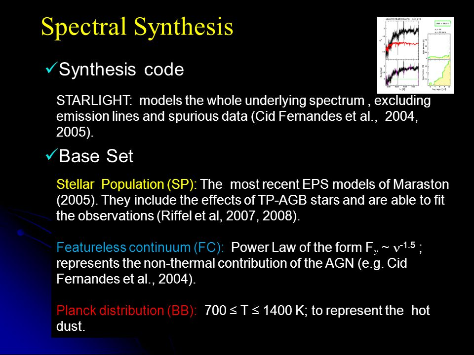 Spectral Synthesis Synthesis code Base Set