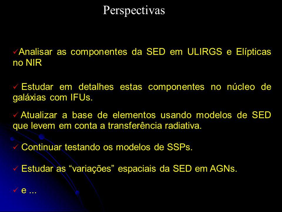 Perspectivas Analisar as componentes da SED em ULIRGS e Elípticas no NIR. Estudar em detalhes estas componentes no núcleo de galáxias com IFUs.