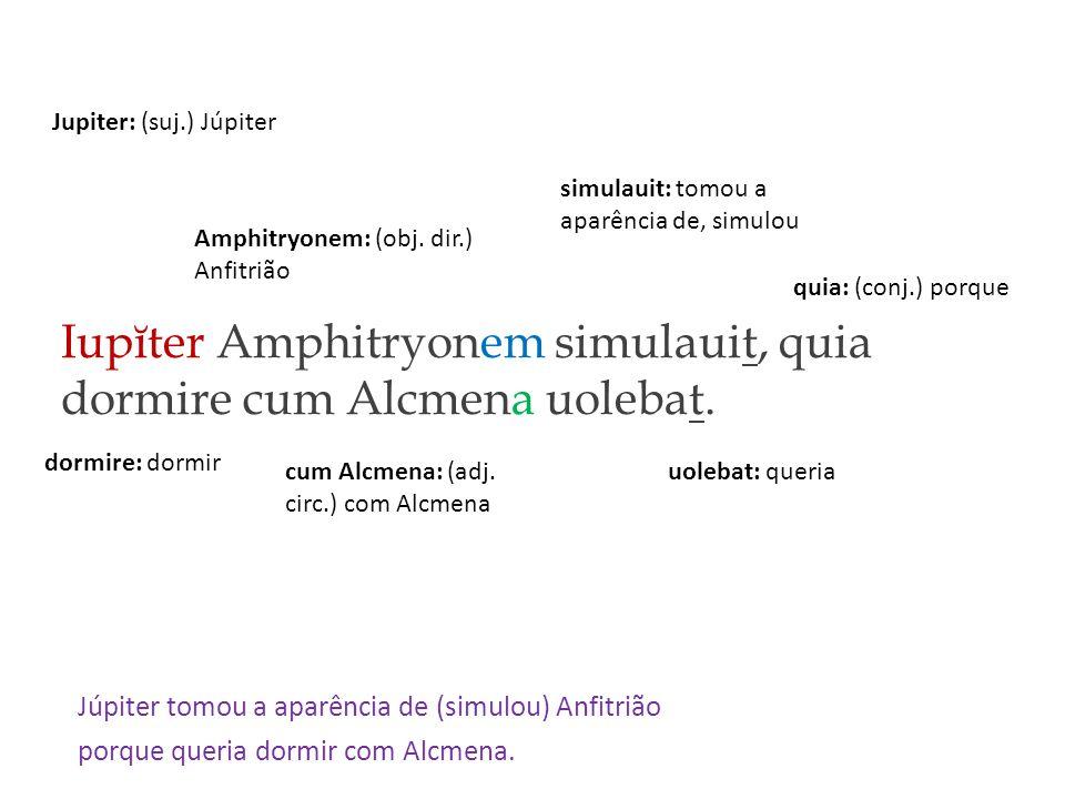 Iupĭter Amphitryonem simulauit, quia dormire cum Alcmena uolebat.