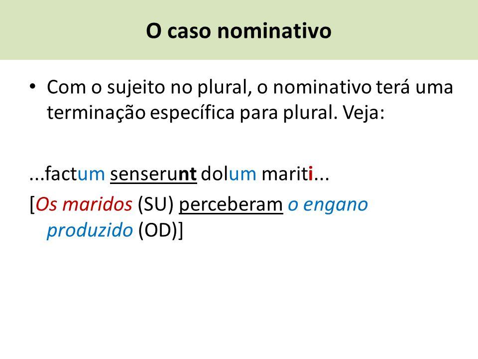 O caso nominativo Com o sujeito no plural, o nominativo terá uma terminação específica para plural. Veja: