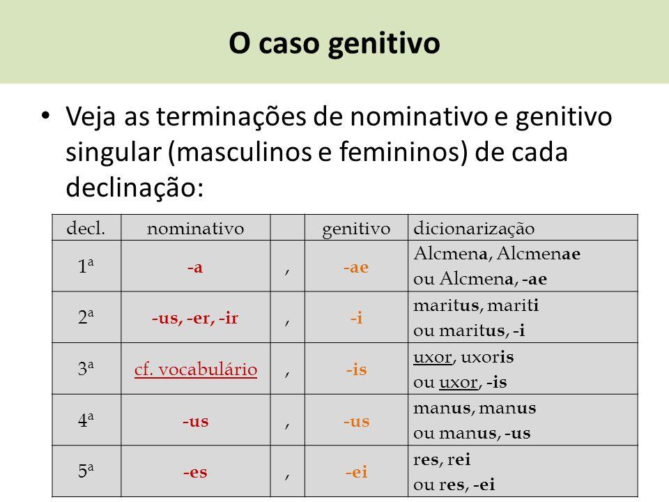 O caso genitivo Veja as terminações de nominativo e genitivo singular (masculinos e femininos) de cada declinação: