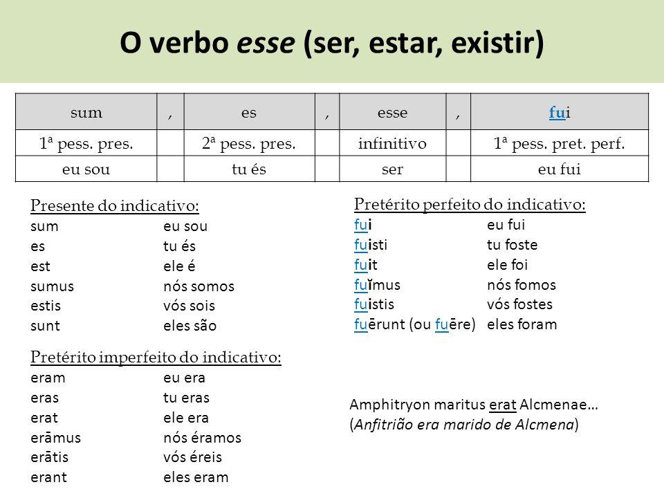 O verbo esse (ser, estar, existir)