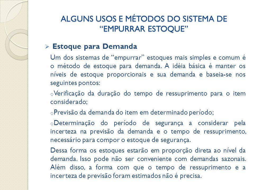 ALGUNS USOS E MÉTODOS DO SISTEMA DE EMPURRAR ESTOQUE
