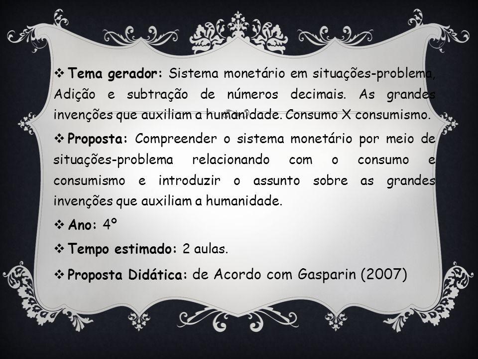 Tema gerador: Sistema monetário em situações-problema, Adição e subtração de números decimais. As grandes invenções que auxiliam a humanidade. Consumo X consumismo.