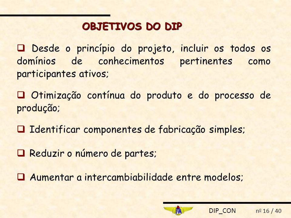 OBJETIVOS DO DIP  Desde o princípio do projeto, incluir os todos os domínios de conhecimentos pertinentes como participantes ativos;