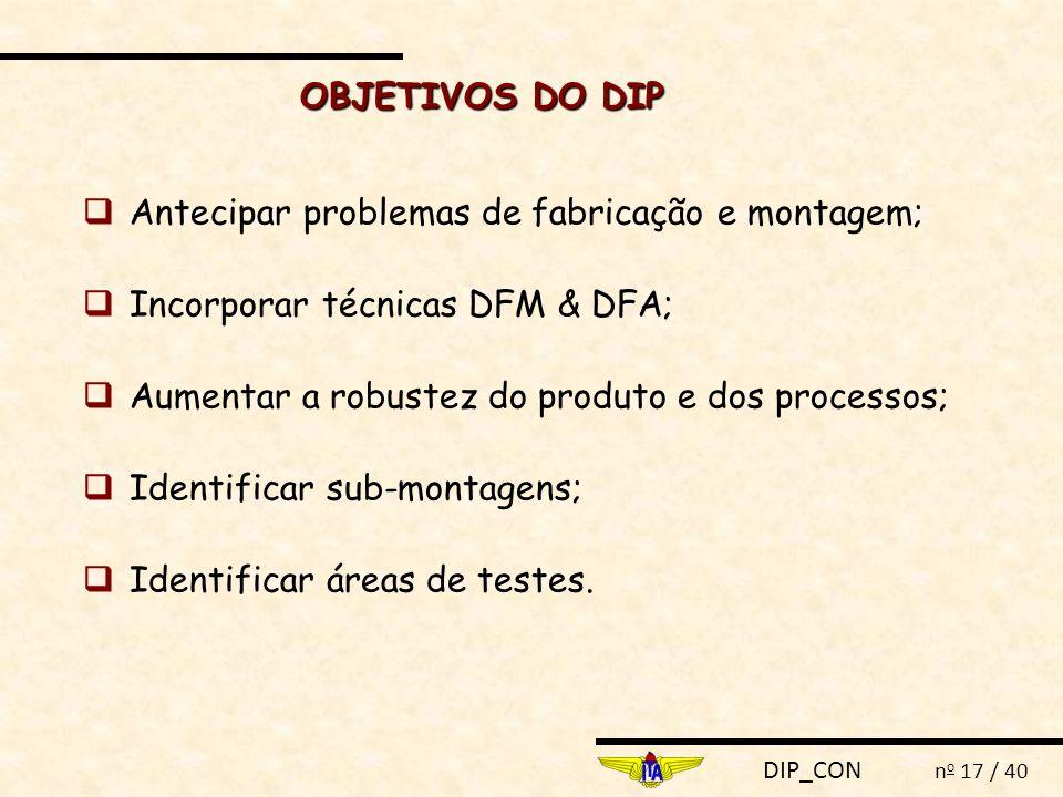 OBJETIVOS DO DIP  Antecipar problemas de fabricação e montagem;  Incorporar técnicas DFM & DFA;  Aumentar a robustez do produto e dos processos;