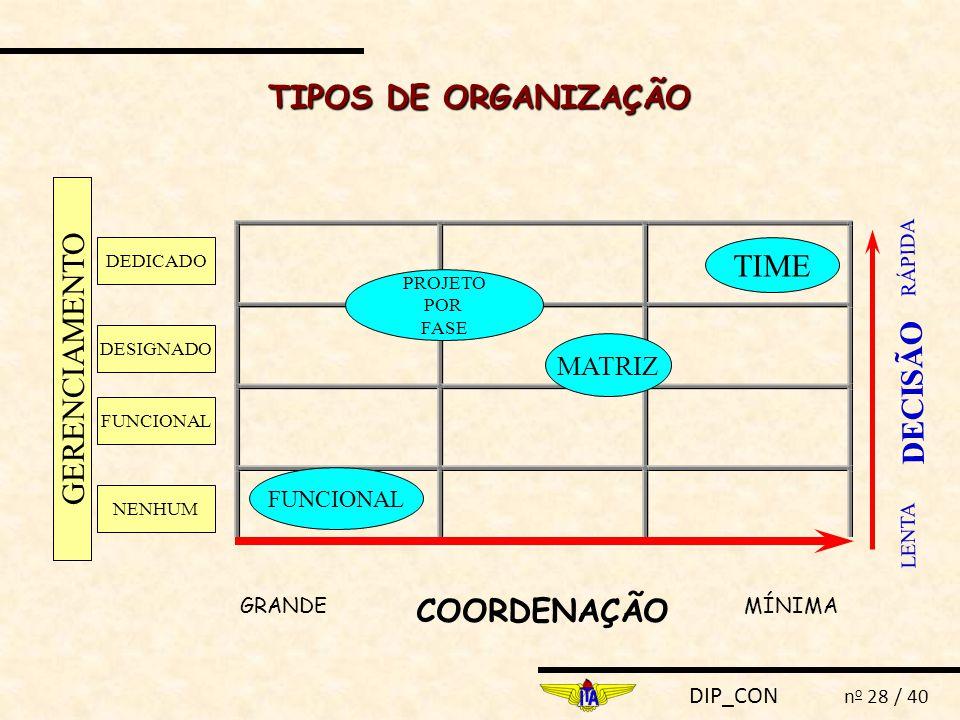TIPOS DE ORGANIZAÇÃO TIME GERENCIAMENTO DECISÃO COORDENAÇÃO MATRIZ