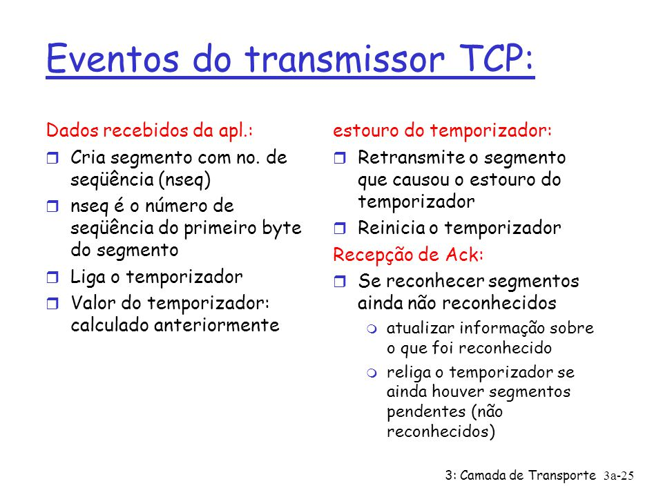 Eventos do transmissor TCP: