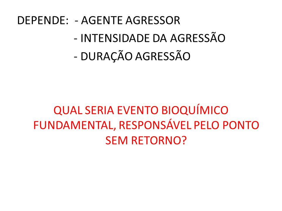 DEPENDE: - AGENTE AGRESSOR - INTENSIDADE DA AGRESSÃO - DURAÇÃO AGRESSÃO QUAL SERIA EVENTO BIOQUÍMICO FUNDAMENTAL, RESPONSÁVEL PELO PONTO SEM RETORNO