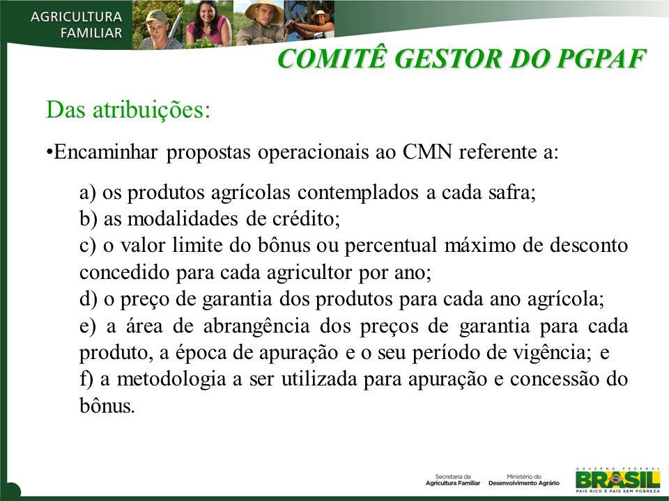 COMITÊ GESTOR DO PGPAF Das atribuições: