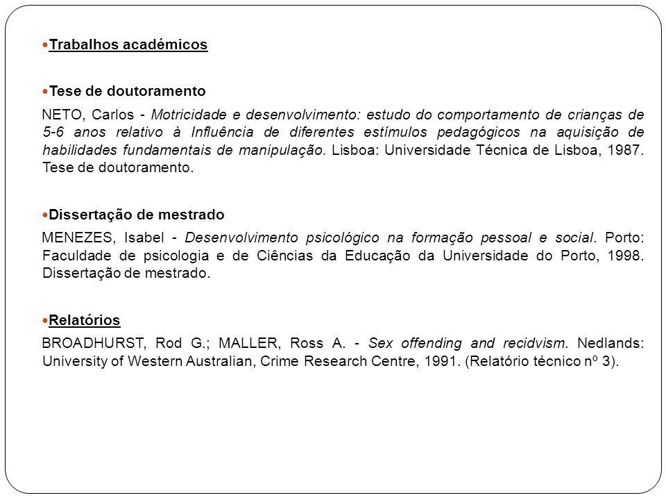 Trabalhos académicos Tese de doutoramento.