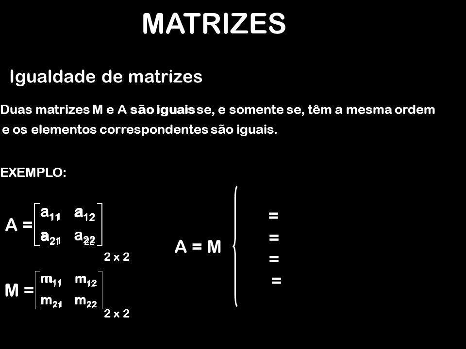MATRIZES Igualdade de matrizes = A = = A = M = = M = a11 a12 a21 a22