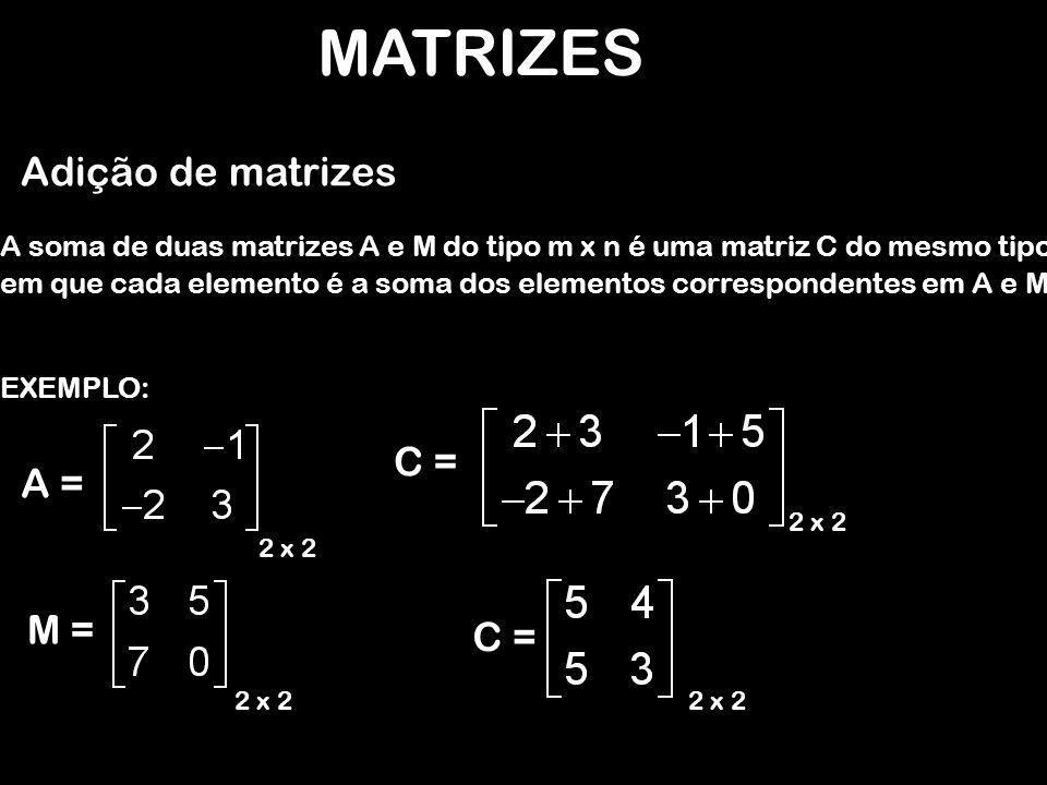 MATRIZES Adição de matrizes C = A = M = C =