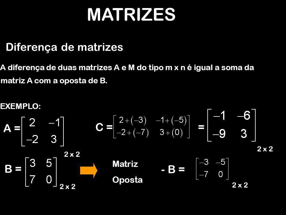 MATRIZES Diferença de matrizes = A = C = B = - B = Matriz Oposta