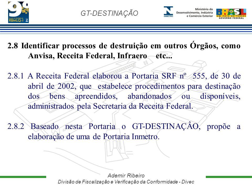 2.8 Identificar processos de destruição em outros Órgãos, como Anvisa, Receita Federal, Infraero etc...