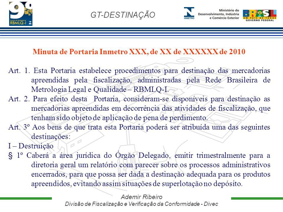 Minuta de Portaria Inmetro XXX, de XX de XXXXXX de 2010
