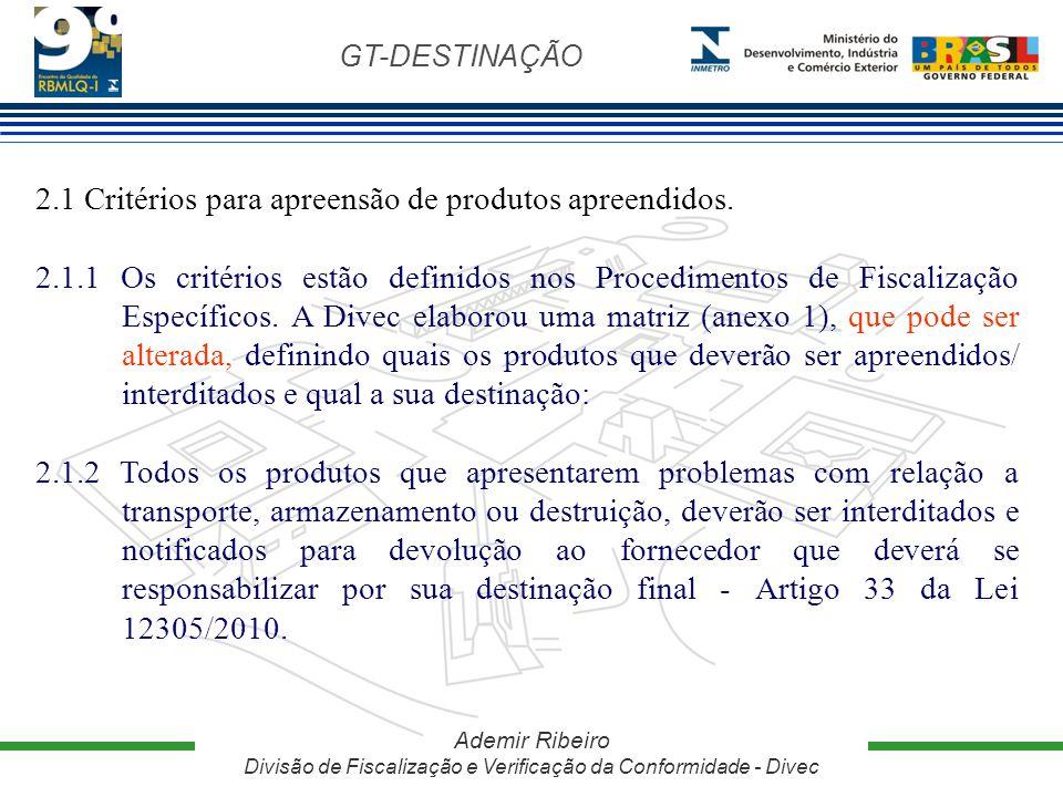 2.1 Critérios para apreensão de produtos apreendidos.