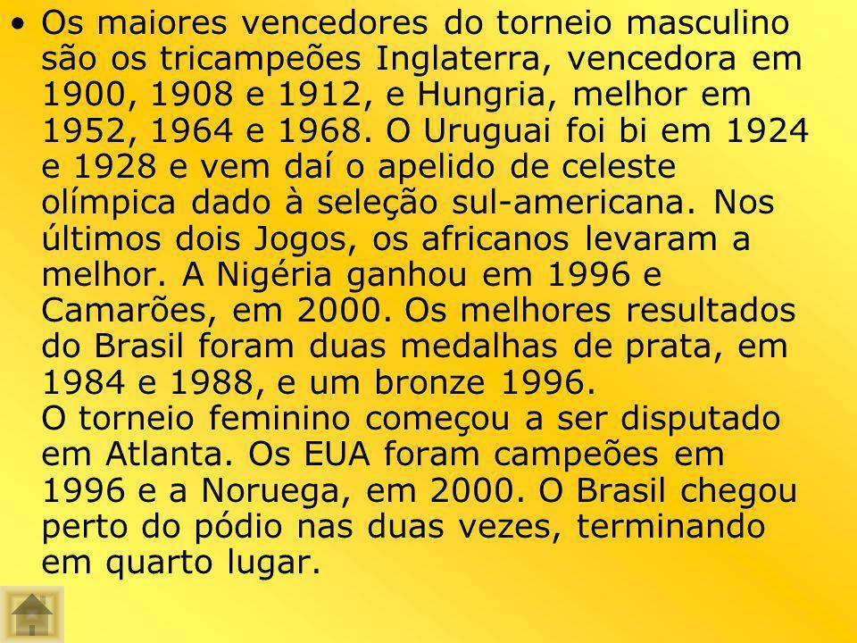 Os maiores vencedores do torneio masculino são os tricampeões Inglaterra, vencedora em 1900, 1908 e 1912, e Hungria, melhor em 1952, 1964 e 1968.