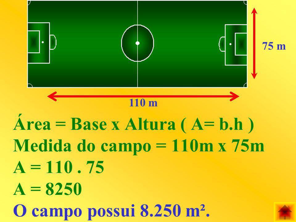 75 m 110 m. Área = Base x Altura ( A= b.h ) Medida do campo = 110m x 75m A = 110 .