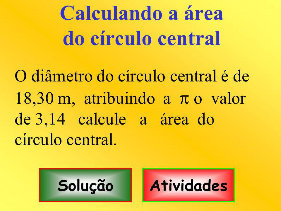 Calculando a área do círculo central