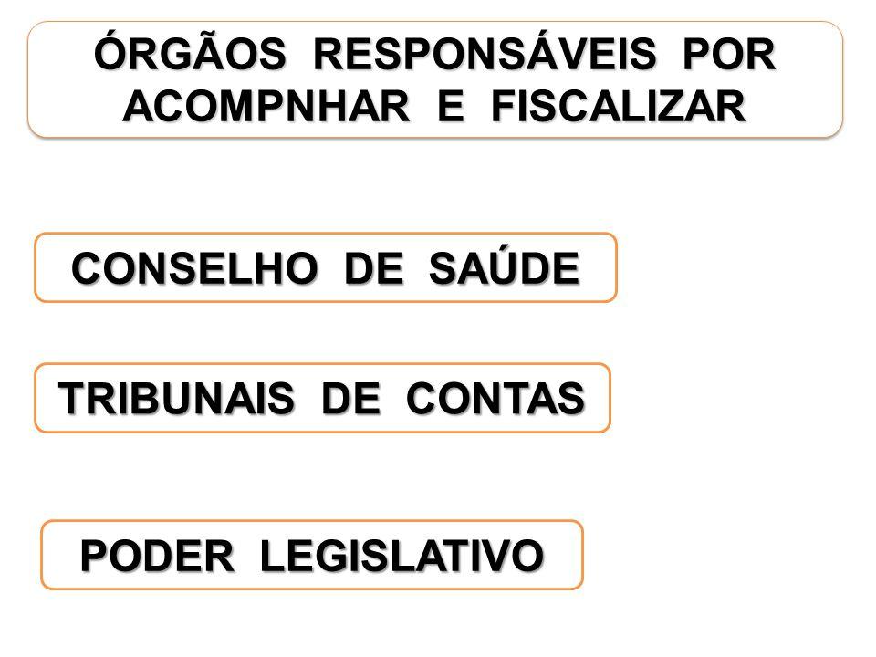 ÓRGÃOS RESPONSÁVEIS POR ACOMPNHAR E FISCALIZAR