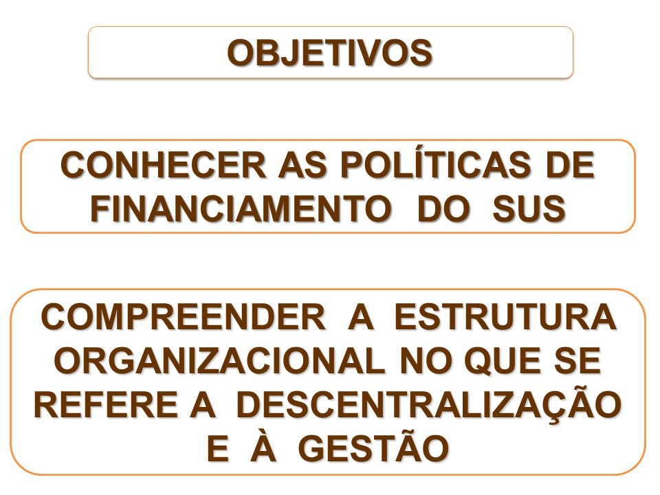 CONHECER AS POLÍTICAS DE FINANCIAMENTO DO SUS