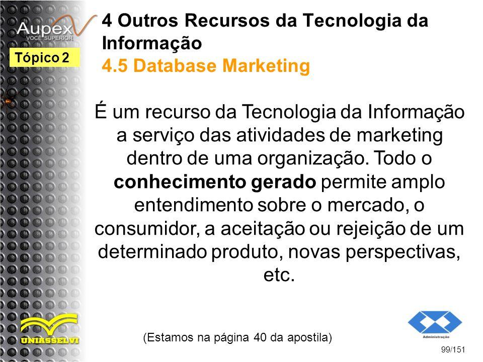4 Outros Recursos da Tecnologia da Informação 4.5 Database Marketing