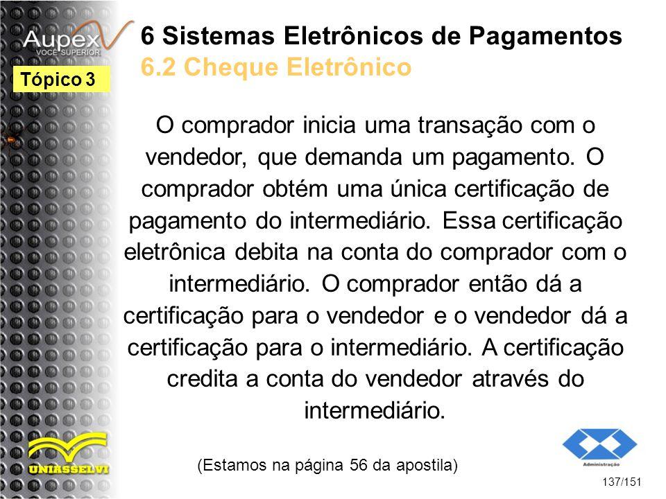 6 Sistemas Eletrônicos de Pagamentos 6.2 Cheque Eletrônico