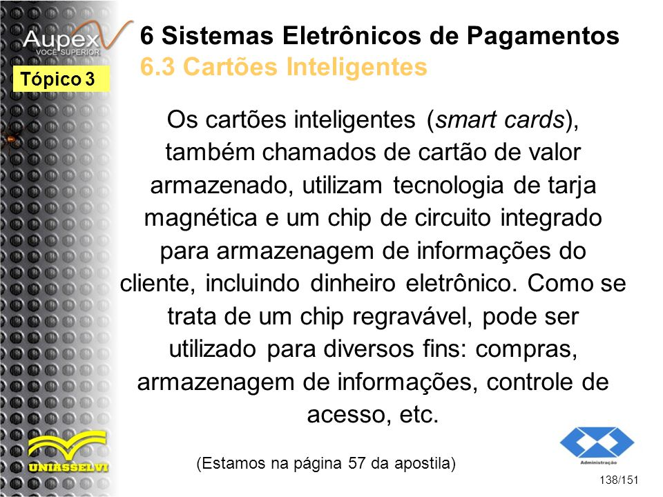 6 Sistemas Eletrônicos de Pagamentos 6.3 Cartões Inteligentes
