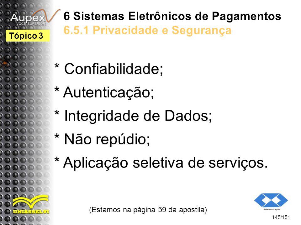 6 Sistemas Eletrônicos de Pagamentos 6.5.1 Privacidade e Segurança