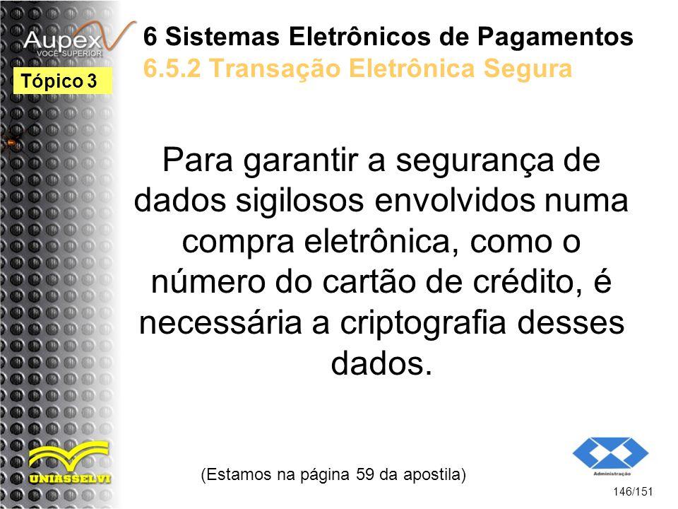 6 Sistemas Eletrônicos de Pagamentos 6.5.2 Transação Eletrônica Segura