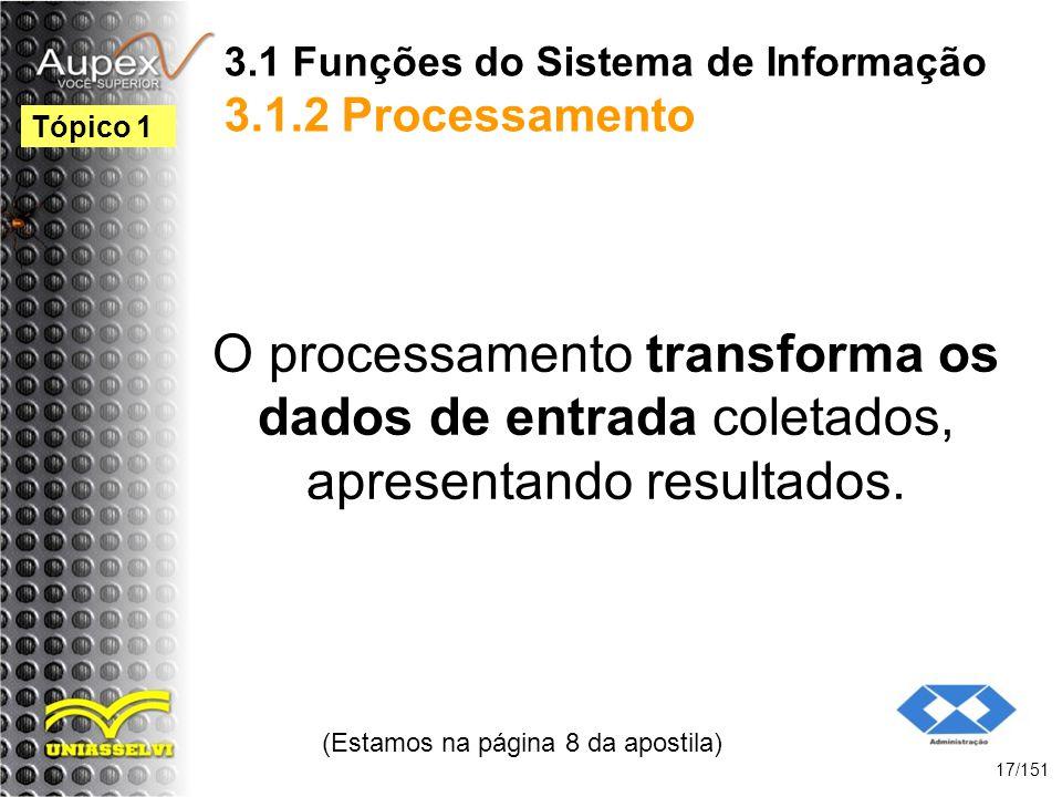 3.1 Funções do Sistema de Informação 3.1.2 Processamento