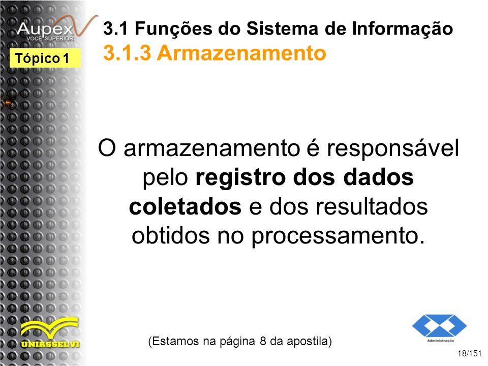 3.1 Funções do Sistema de Informação 3.1.3 Armazenamento
