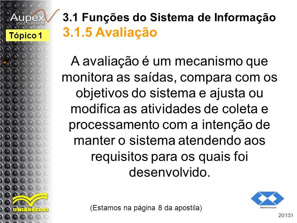 3.1 Funções do Sistema de Informação 3.1.5 Avaliação