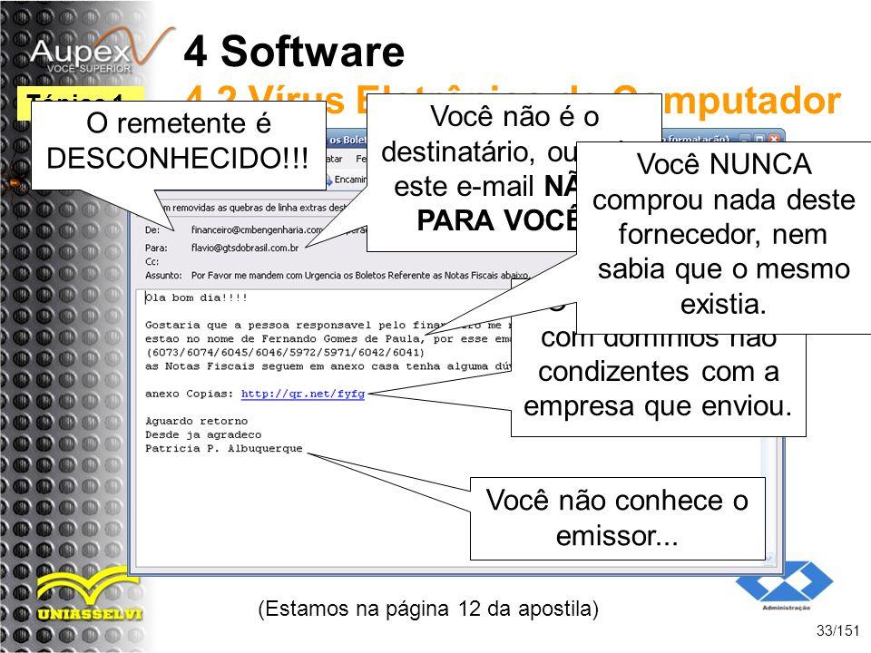 4 Software 4.2 Vírus Eletrônico de Computador