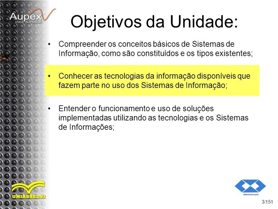 Objetivos da Unidade: Compreender os conceitos básicos de Sistemas de Informação, como são constituídos e os tipos existentes;
