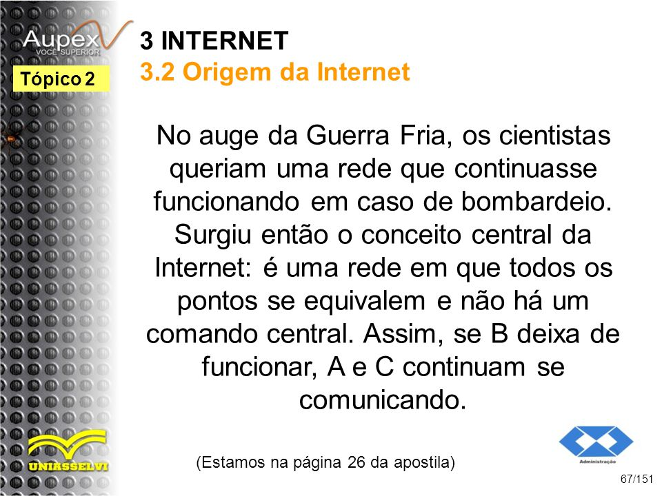 3 INTERNET 3.2 Origem da Internet