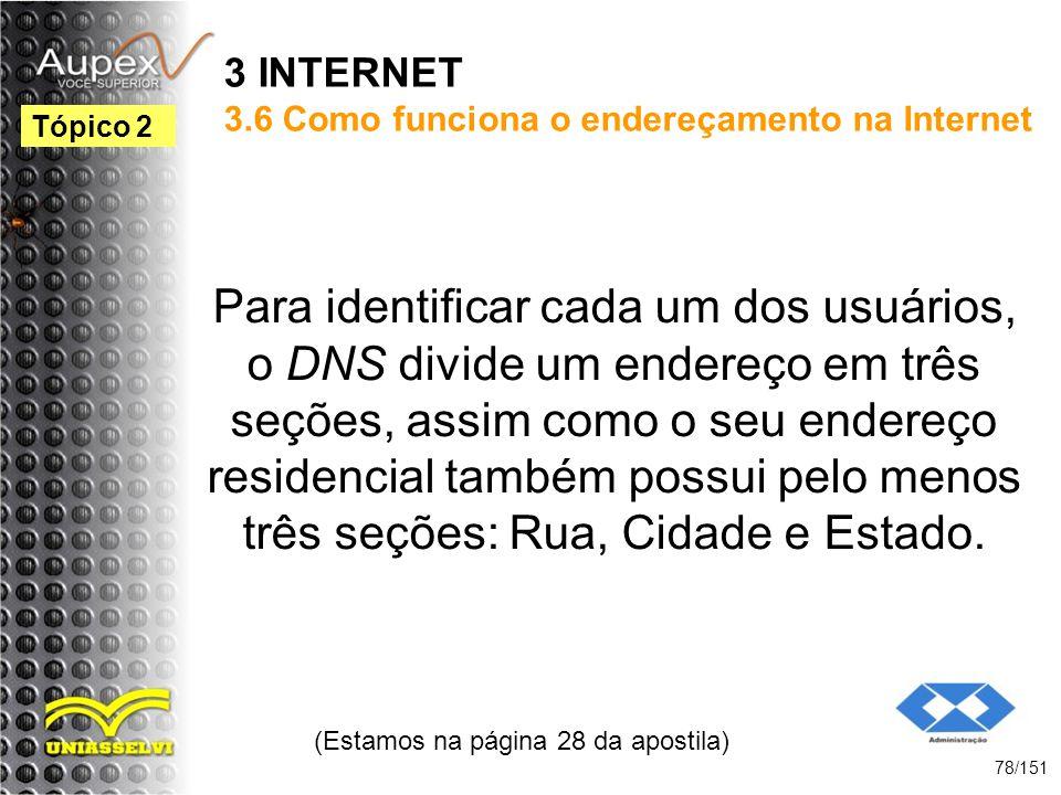 3 INTERNET 3.6 Como funciona o endereçamento na Internet