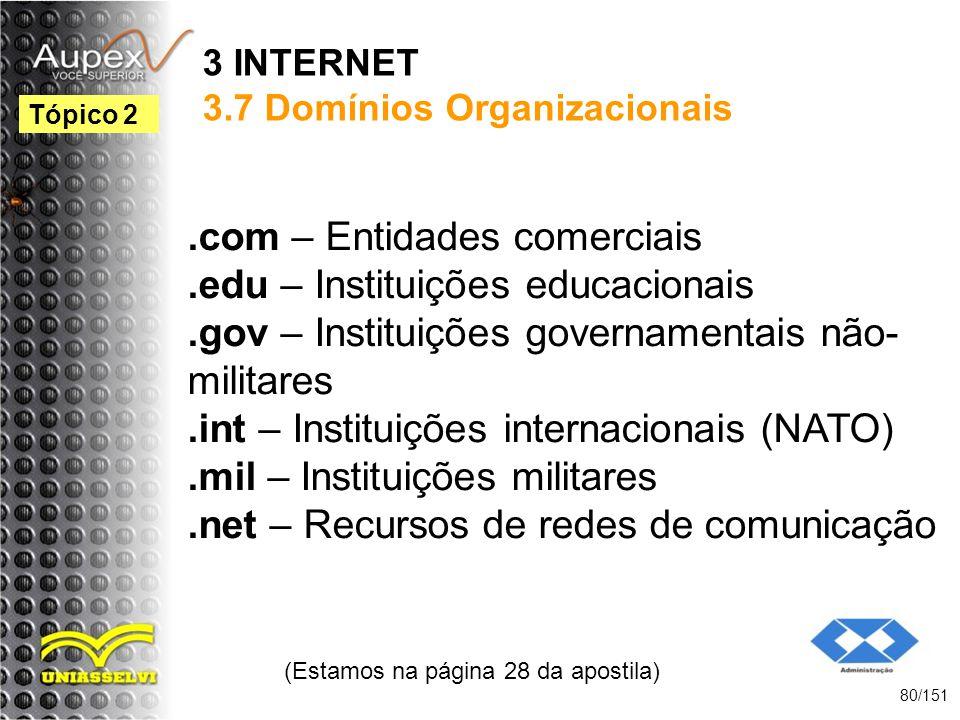 3 INTERNET 3.7 Domínios Organizacionais