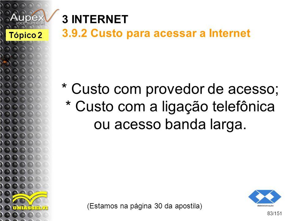 3 INTERNET 3.9.2 Custo para acessar a Internet