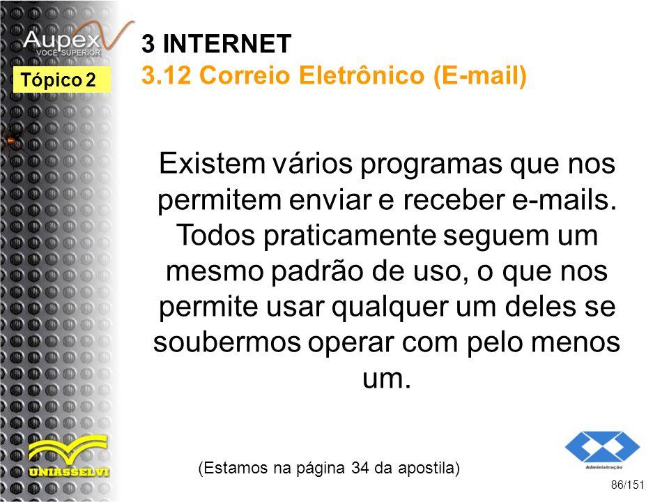 3 INTERNET 3.12 Correio Eletrônico (E-mail)