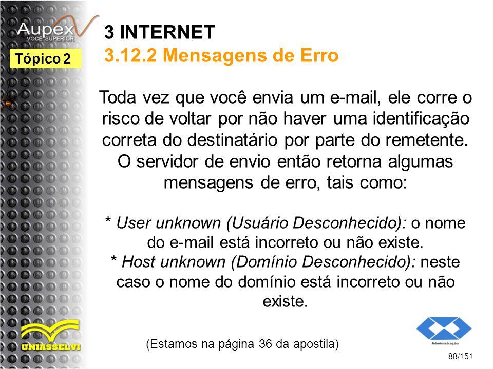 3 INTERNET 3.12.2 Mensagens de Erro