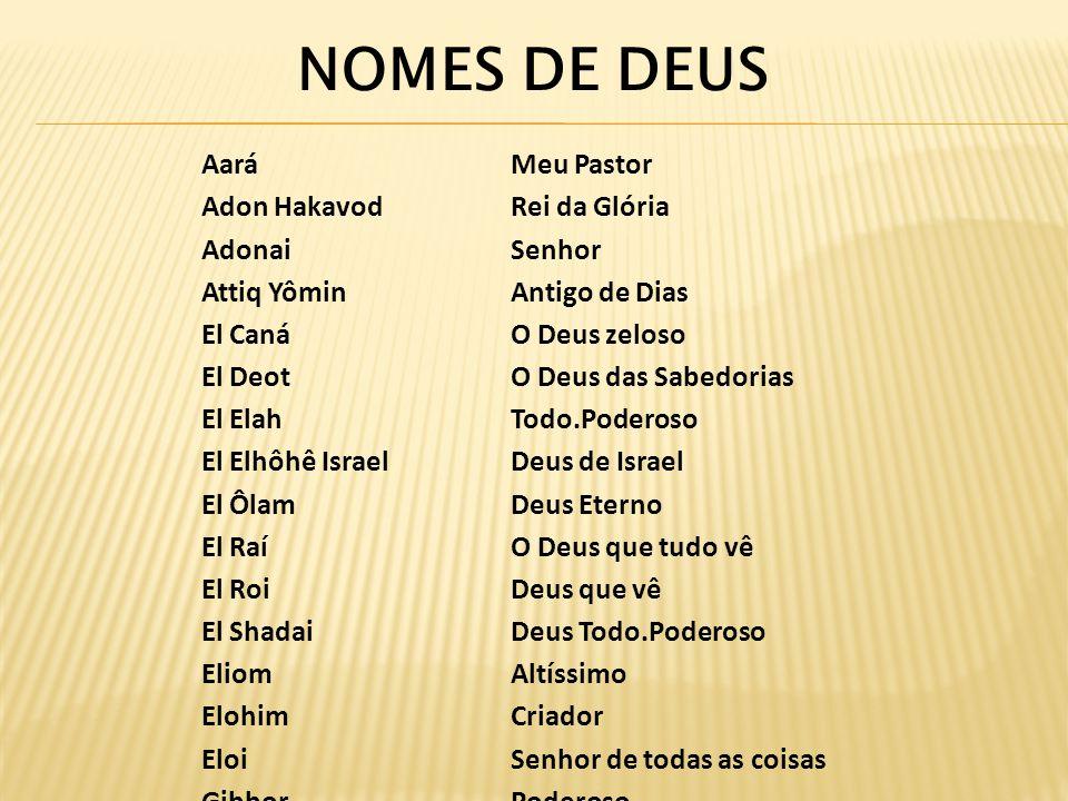 NOMES DE DEUS Aará Meu Pastor Adon Hakavod Rei da Glória Adonai Senhor