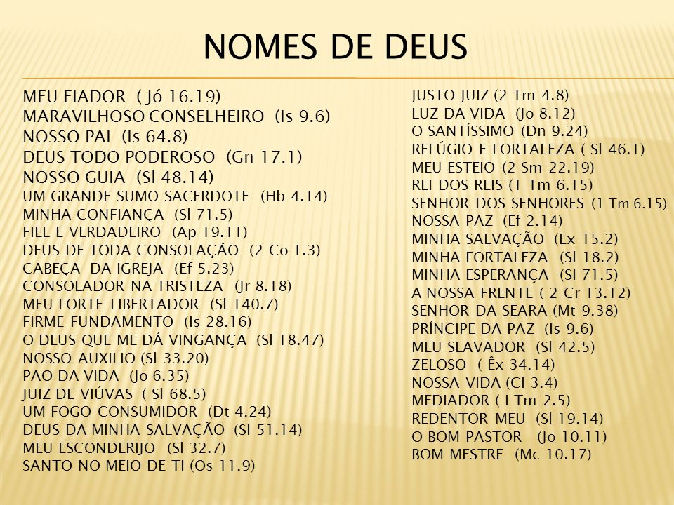NOMES DE DEUS MEU FIADOR ( Jó 16.19) MARAVILHOSO CONSELHEIRO (Is 9.6)