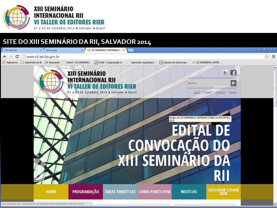 SITE DO XIII SEMINÁRIO DA RII, SALVADOR 2014