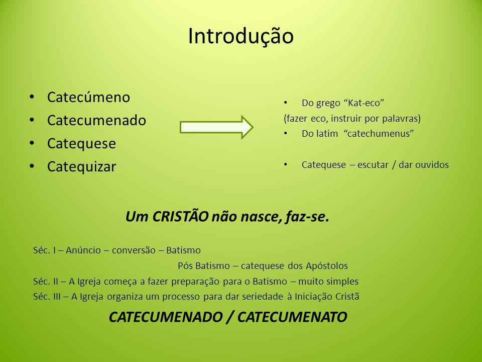 Um CRISTÃO não nasce, faz-se. CATECUMENADO / CATECUMENATO