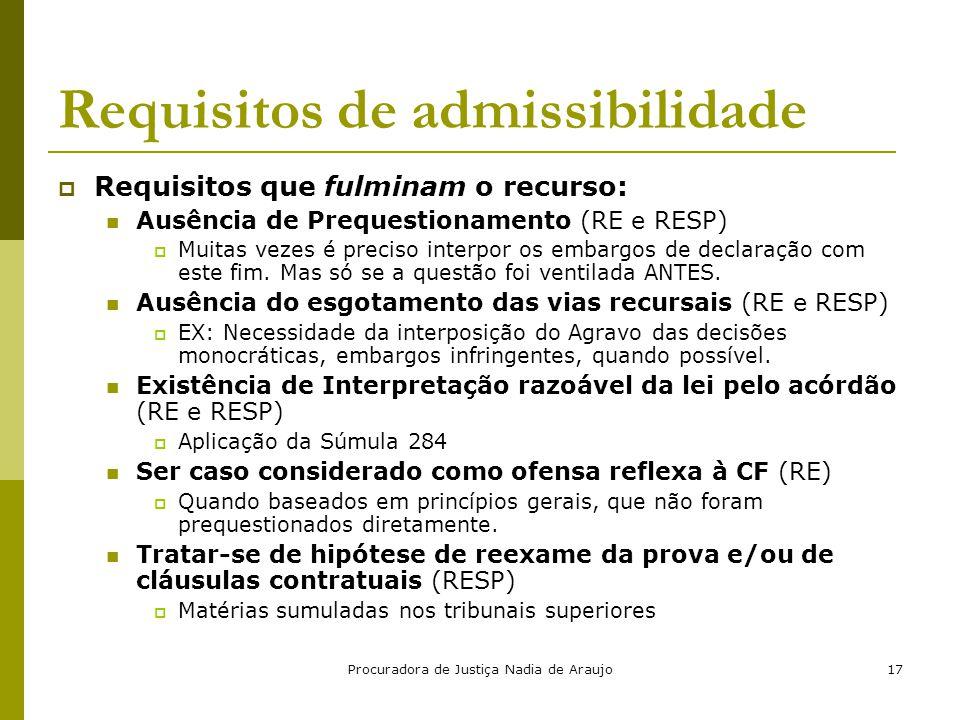 Requisitos de admissibilidade