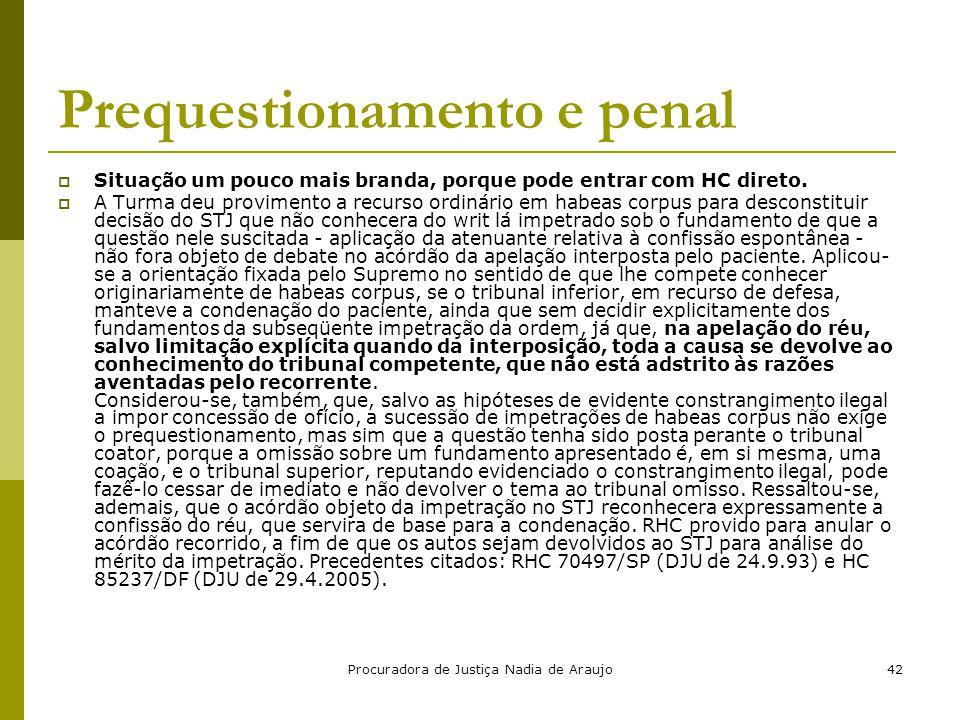 Prequestionamento e penal