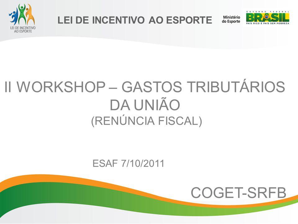 II WORKSHOP – GASTOS TRIBUTÁRIOS DA UNIÃO