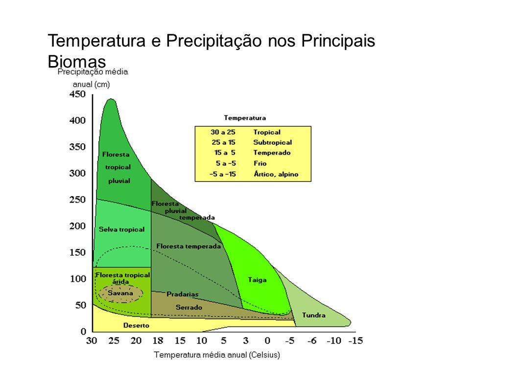 Temperatura e Precipitação nos Principais Biomas